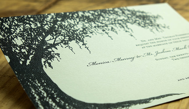 Photo of an invitation created using thermography