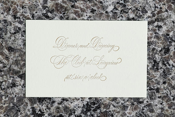 Hand Calligraphy Reception Card